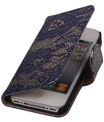 Lace Blauw iPhone 4 4s Book/Wallet Case/Cover