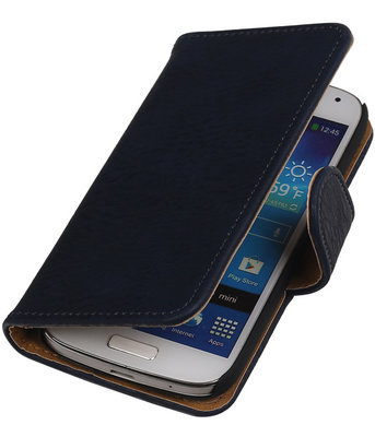 Blauw Hout Hoesje voor Samsung Galaxy S4 Mini i9190 Book/Wallet Case/Cover