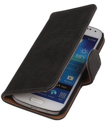 Grijs Hout Hoesje voor Samsung Galaxy S4 Mini i9190 Book/Wallet Case/Cover