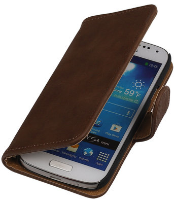 Bruin Hout Samsung Galaxy S4 Mini i9190 Book/Wallet Case/Cover