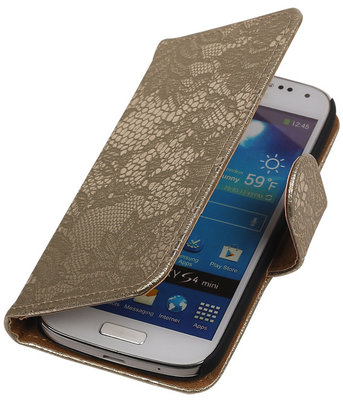 Lace Goud Samsung Galaxy S4 Mini Book/Wallet Case/Cover Hoesje