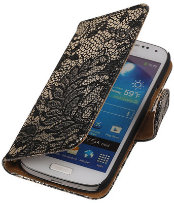 Lace Zwart Samsung Galaxy S4 Mini Book/Wallet Case/Cover Hoesje