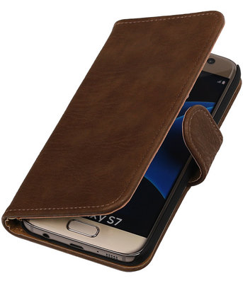 Bruin Bark Hout Booktype Samsung Galaxy S7 Wallet Cover Hoesje