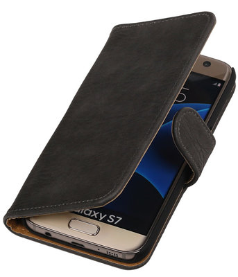 Grijs Bark Hout Booktype Hoesje voor Samsung Galaxy S7 Wallet Cover