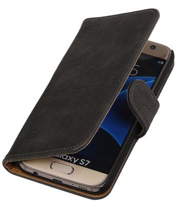 Grijs Bark Hout Booktype Samsung Galaxy S7 Wallet Cover Hoesje
