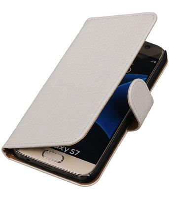 Wit Krokodil Booktype Hoesje voor Samsung Galaxy S7 Wallet Cover