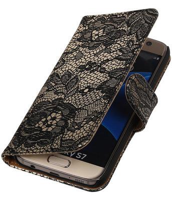 Zwart Lace Booktype Samsung Galaxy S7 Wallet Cover Hoesje