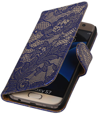 Blauw Lace Booktype Samsung Galaxy S7 Wallet Cover Hoesje