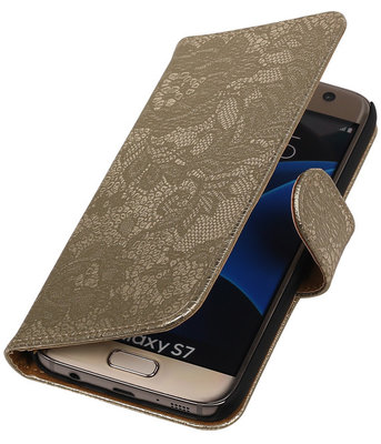 Goud Lace Booktype Samsung Galaxy S7 Wallet Cover Hoesje