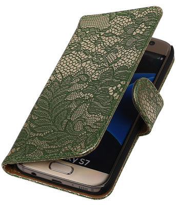 Donker Groen Lace Booktype Hoesje voor Samsung Galaxy S7 Wallet Cover