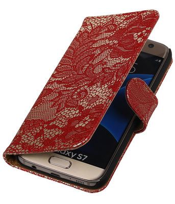 Rood Lace Booktype Hoesje voor Samsung Galaxy S7 Wallet Cover