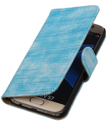 Turquoise Mini Slang Booktype Hoesje voor Samsung Galaxy S7 Wallet Cover