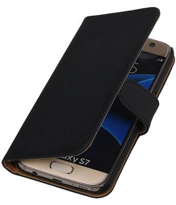 Zwart Effen Booktype Hoesje voor Samsung Galaxy S7 Wallet Cover