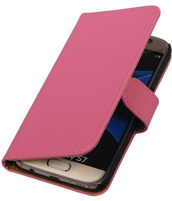 Roze Effen Booktype Samsung Galaxy S7 Wallet Cover Hoesje