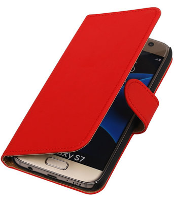Rood Effen Booktype Samsung Galaxy S7 Wallet Cover Hoesje