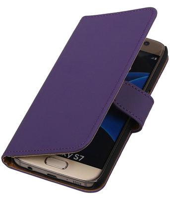 Paars Effen Booktype Hoesje voor Samsung Galaxy S7 Wallet Cover