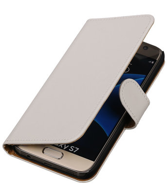 Wit Effen Booktype Samsung Galaxy S7 Wallet Cover Hoesje