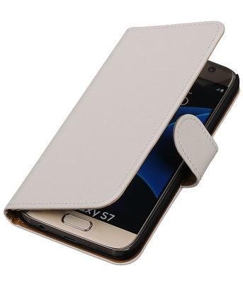 Wit Effen Booktype Hoesje voor Samsung Galaxy S7 Wallet Cover
