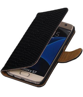 Zwart Slang Booktype Hoesje voor Samsung Galaxy S7 Wallet Cover