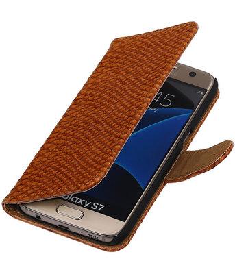 Bruin Slang Booktype Hoesje voor Samsung Galaxy S7 Wallet Cover