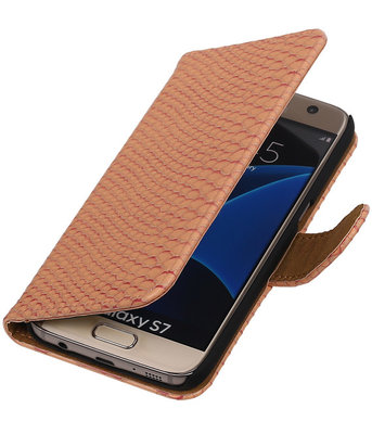 Roze Slang Booktype Samsung Galaxy S7 Wallet Cover Hoesje
