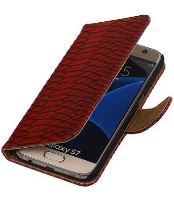 Rood Slang Booktype Samsung Galaxy S7 Wallet Cover Hoesje