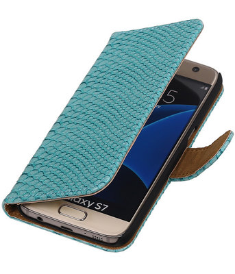 Turquoise Slang Booktype Hoesje voor Samsung Galaxy S7 Wallet Cover