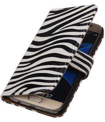 Zebra Booktype Hoesje voor Samsung Galaxy S7 Wallet Cover