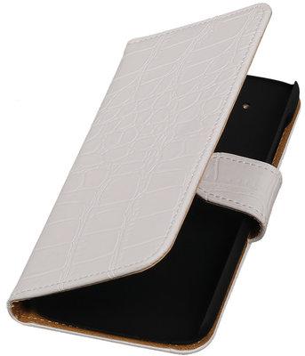 Hoesje voor HTC Desire 526 Booktype Krokodil Wit