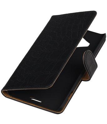 Hoesje voor Microsoft Lumia 950 XL - Croco Booktype Wallet Zwart
