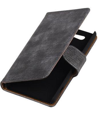 Hoesje voor Sony Xperia Z4 Compact Booktype Wallet Mini Slang Grijs