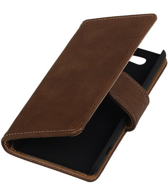 Sony Xperia Z4 Compact Bark Hout Bookstyle Wallet Hoesje Bruin