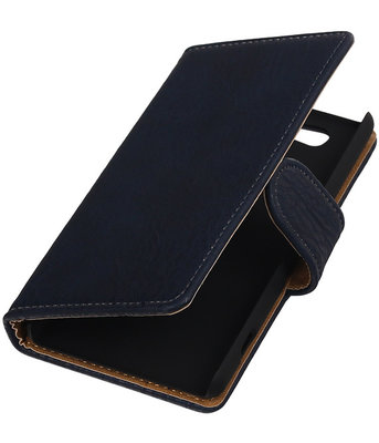 Sony Xperia Z4 Compact Bark Hout Bookstyle Wallet Hoesje Donker blauw