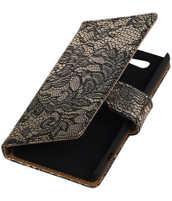 Hoesje voor Sony Xperia Z4 Compact Lace Kant Bookstyle Wallet Zwart