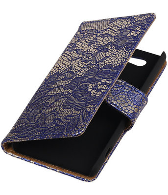 Sony Xperia Z4 Compact Lace Kant Bookstyle Wallet Hoesje Blauw