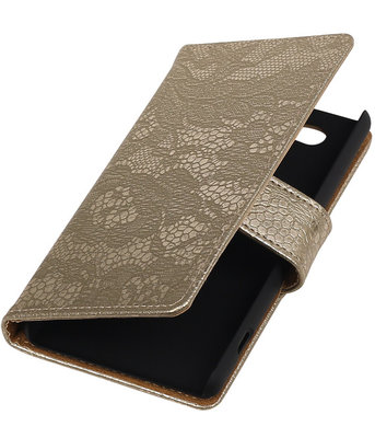 Sony Xperia Z4 Compact Lace Kant Bookstyle Wallet Hoesje Goud