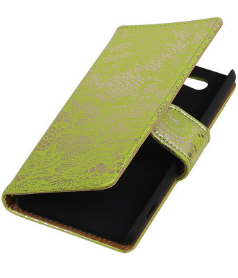 Sony Xperia Z4 Compact Lace Kant Bookstyle Wallet Hoesje Groen