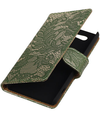Hoesje voor Sony Xperia Z4 Compact Lace Kant Bookstyle Wallet Donker Groen