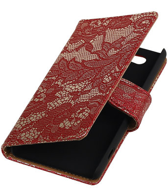 Sony Xperia Z4 Compact Lace Kant Bookstyle Wallet Hoesje Rood