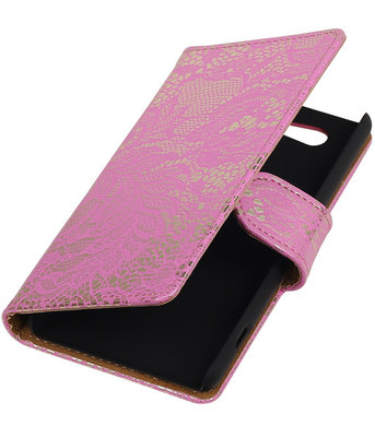 Sony Xperia Z4 Compact Lace Kant Bookstyle Wallet Hoesje Roze
