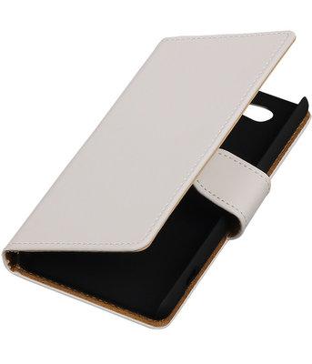 Sony Xperia Z4 Compact Effen Bookstyle Wallet Hoesje Wit