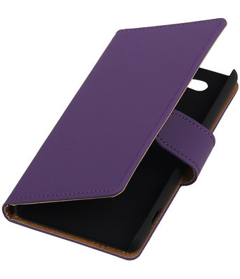 Sony Xperia Z4 Compact Effen Bookstyle Wallet Hoesje Paars