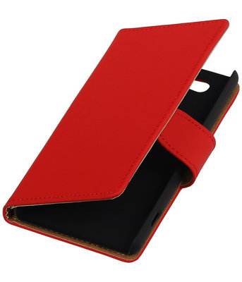 Sony Xperia Z4 Compact Effen Bookstyle Wallet Hoesje Rood