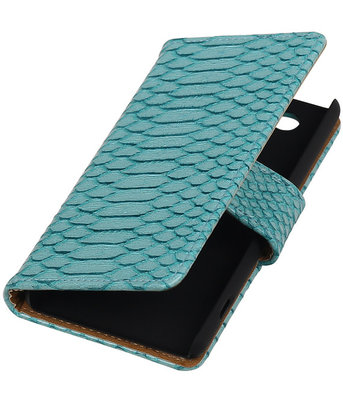 Sony Xperia Z4 Compact Snake Slang Bookstyle Wallet Hoesje Turquoise
