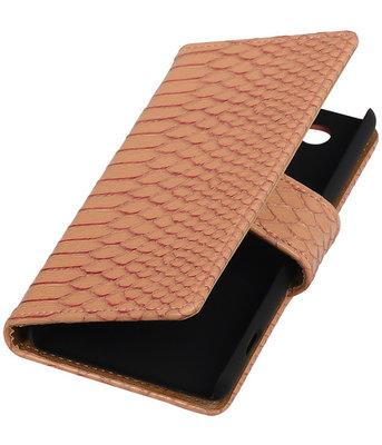 Sony Xperia Z4 Compact Snake Slang Bookstyle Wallet Hoesje Roze