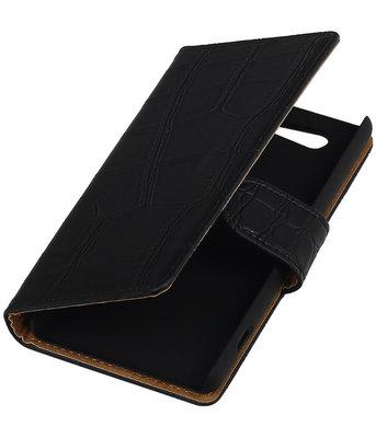 Hoesje voor Sony Xperia Z4 Compact Croco Bookstyle Wallet Zwart