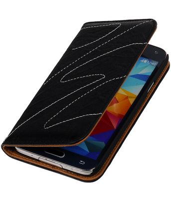 Samsung Galaxy S5 - Echt Leer Map Hoesje - Zwart