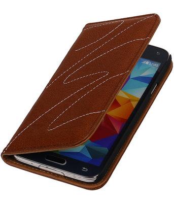Samsung Galaxy S5 - Echt Leer Map Hoesje - Bruin