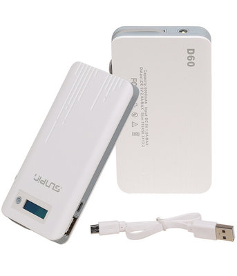SunPin Powerbank 6000 mAh D60 Oplader met ingebouwd Micro USB