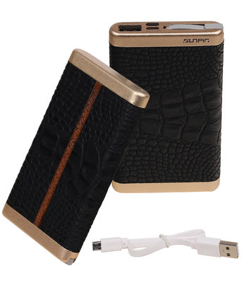Zwart Krokodil SunPin Powerbank 6000 mAh iPhone/iPad Oplader